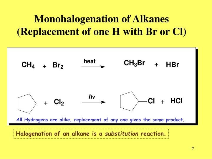 Monohalogenation of Alkanes