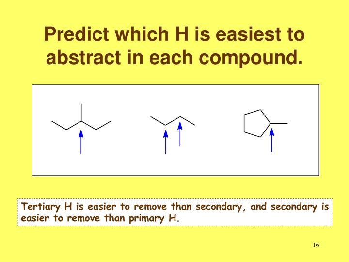 Predict which H is easiest to abstract in each compound.