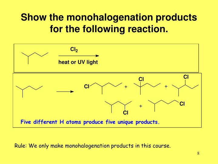 Show the monohalogenation products for the following reaction.