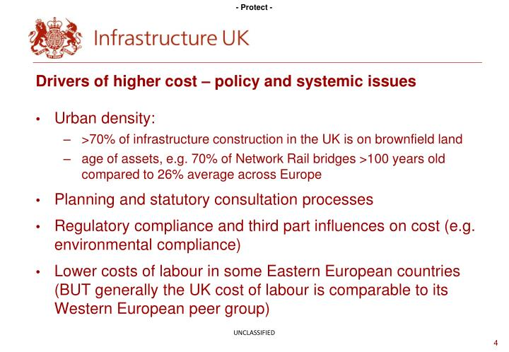 Drivers of higher cost – policy and systemic issues