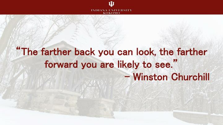 The farther back you can look the farther forward you are likely to see winston churchill