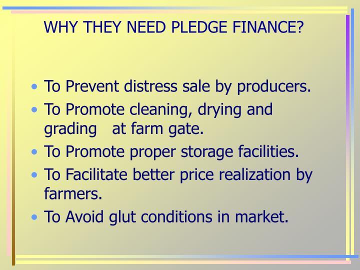 WHY THEY NEED PLEDGE FINANCE?
