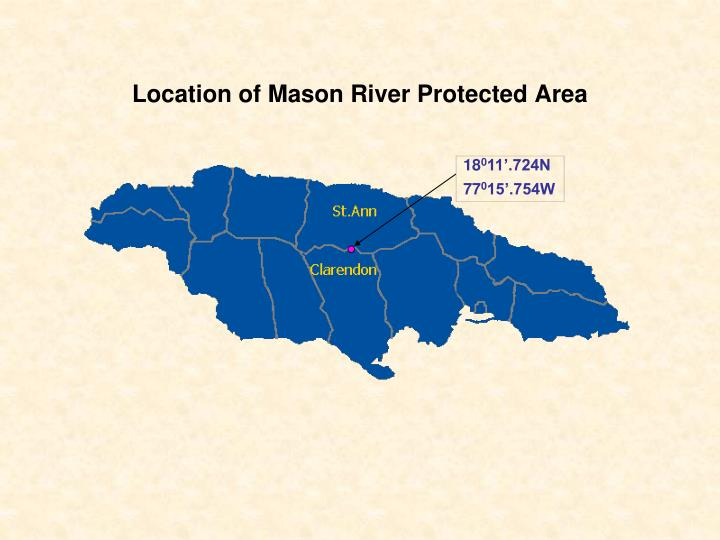 Location of mason river protected area