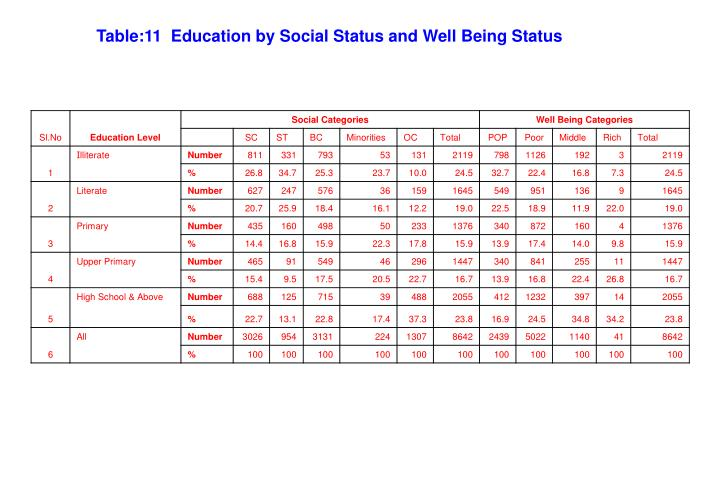 Table:11  Education by Social Status and Well Being Status