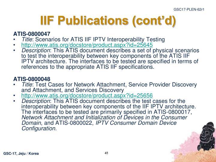 IIF Publications (cont'd