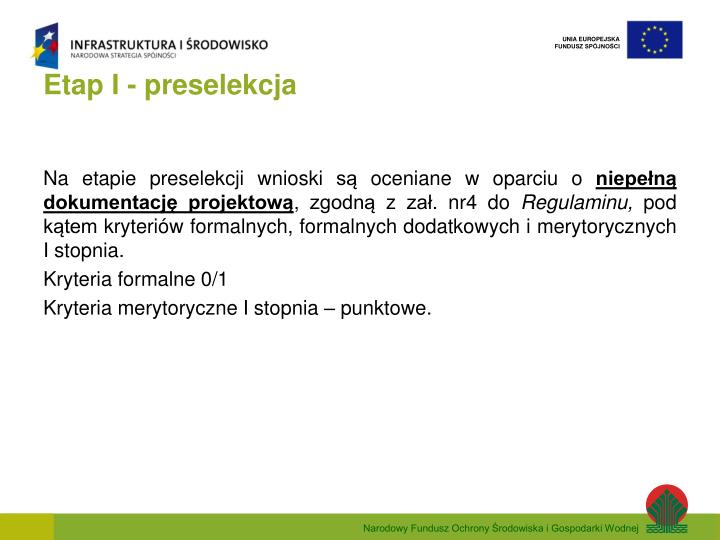 Etap I - preselekcja
