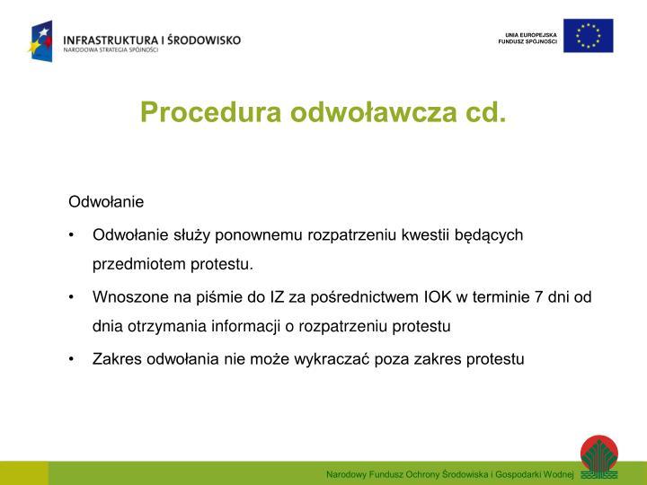 Procedura odwoławcza cd.