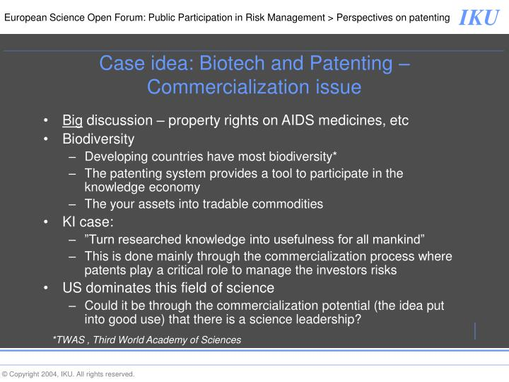 Case idea: Biotech and Patenting – Commercialization issue