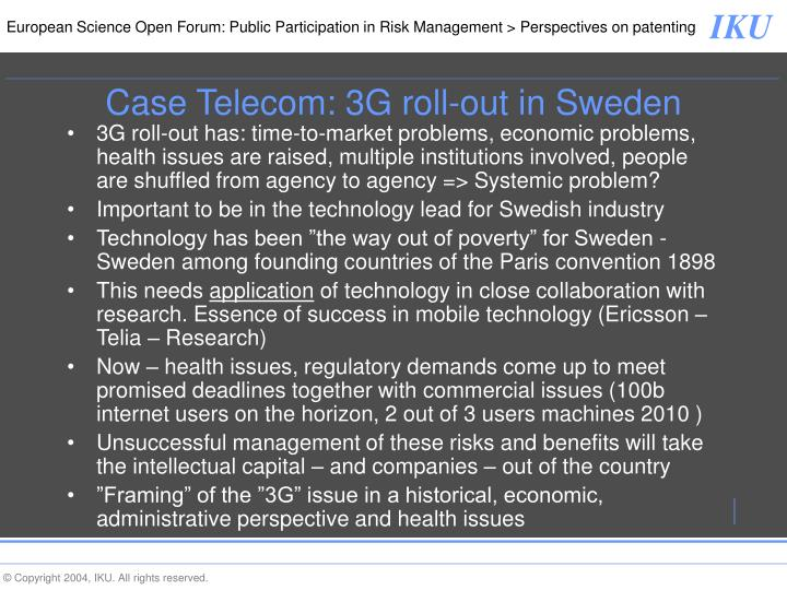 Case Telecom: 3G roll-out in Sweden