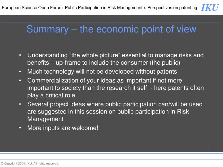 Summary – the economic point of view
