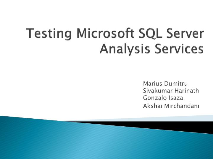 Testing microsoft sql server analysis services