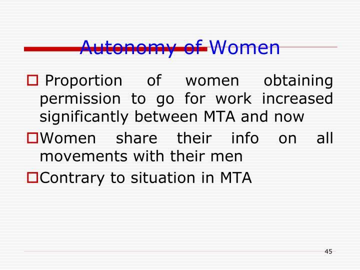 Autonomy of Women