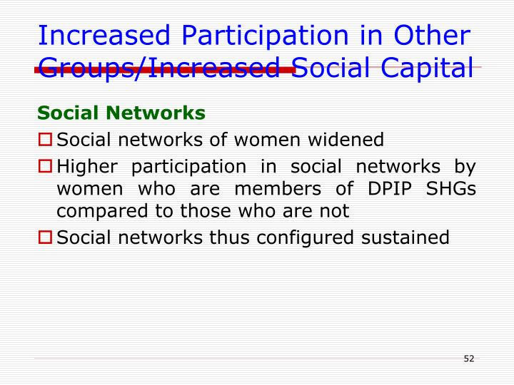 Increased Participation in Other Groups/Increased Social Capital