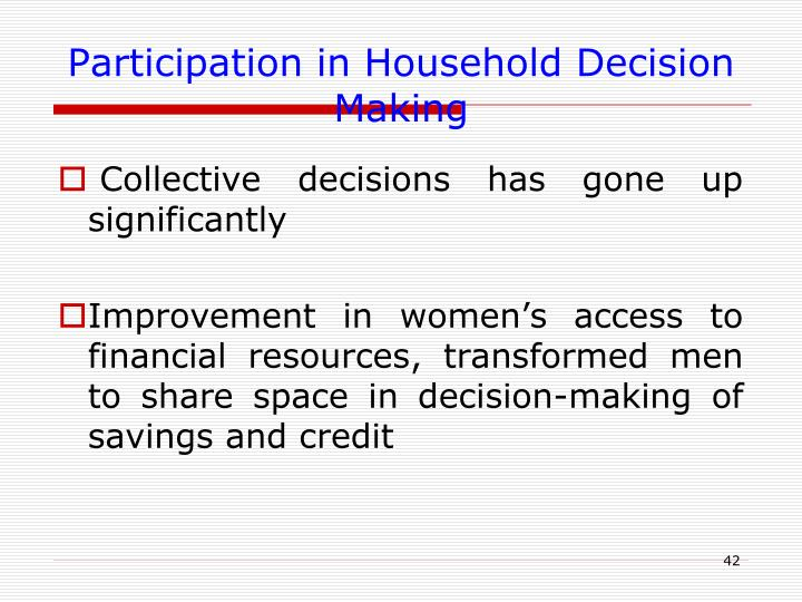 Participation in Household Decision Making