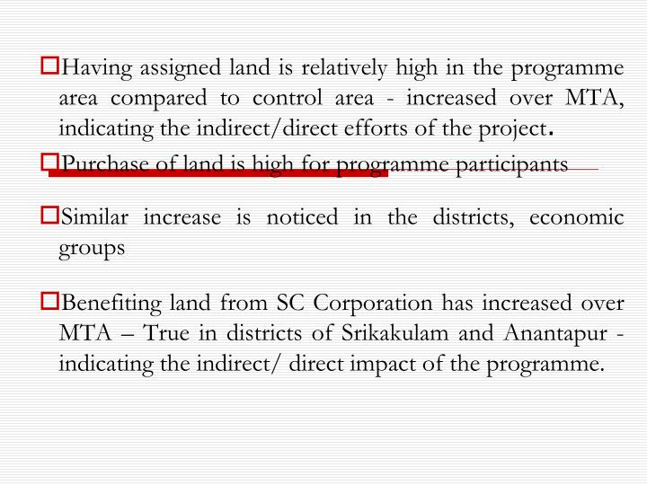 Having assigned land is relatively high in the programme area compared to control area - increased over MTA, indicating the indirect/direct efforts of the project