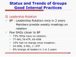 status and trends of groups good internal practices5