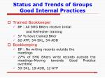 status and trends of groups good internal practices8