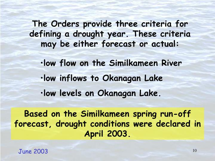 The Orders provide three criteria for defining a drought year. These criteria may be either forecast or actual: