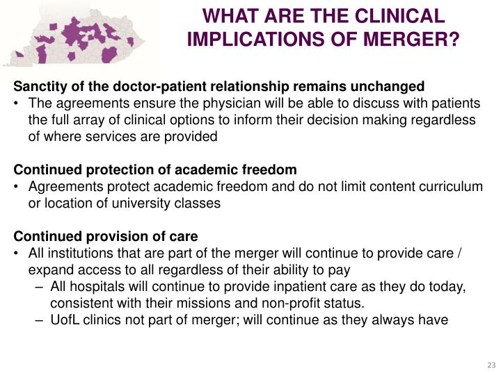WHAT ARE THE CLINICAL IMPLICATIONS OF MERGER?