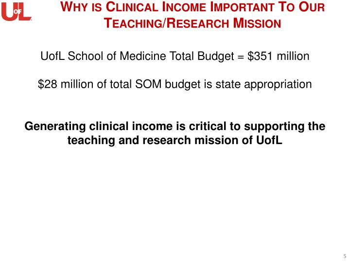 Why is Clinical Income Important To Our Teaching/Research Mission