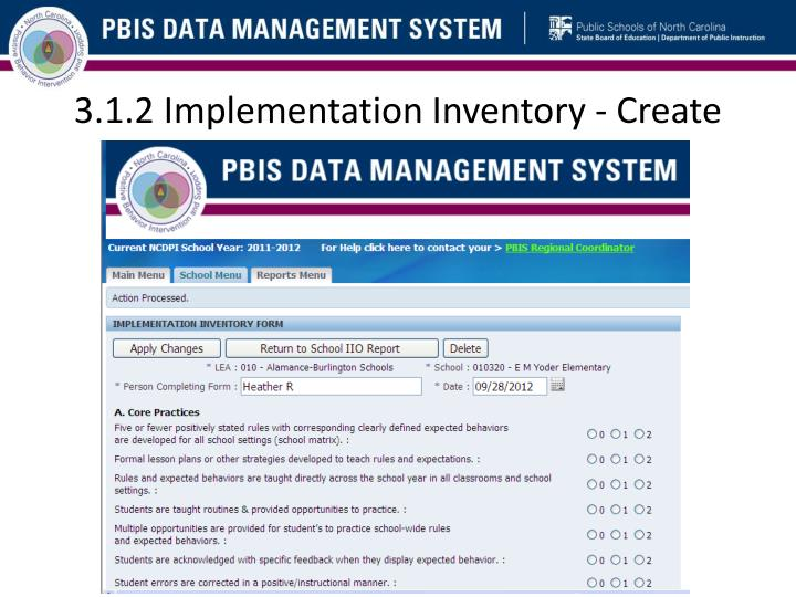 3.1.2 Implementation Inventory - Create