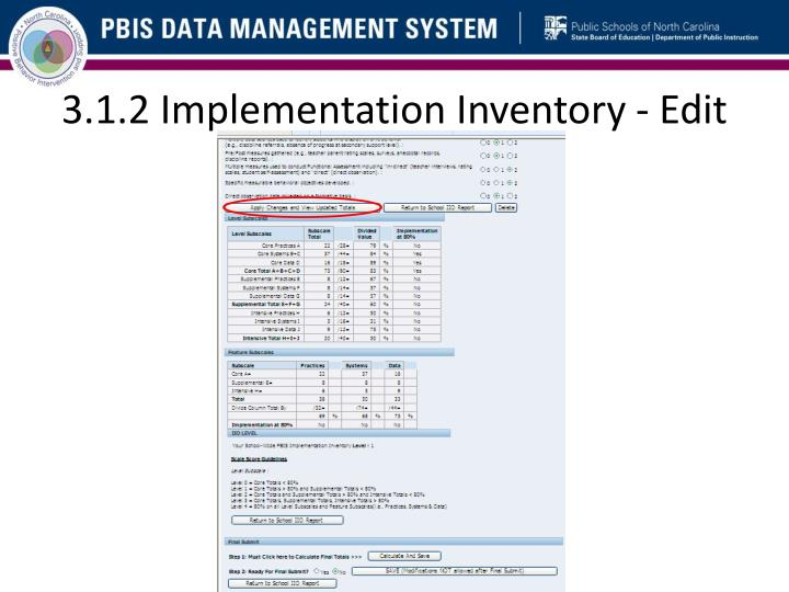 3.1.2 Implementation Inventory - Edit