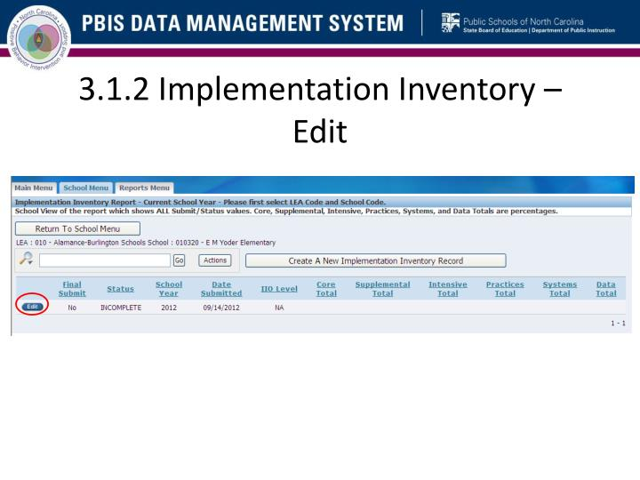 3.1.2 Implementation Inventory –