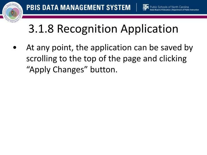 3.1.8 Recognition Application