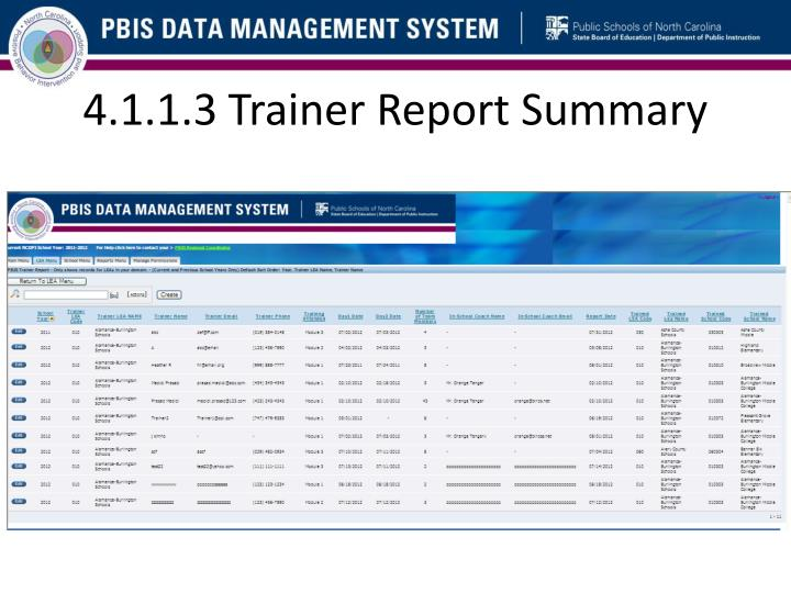 4.1.1.3 Trainer Report Summary