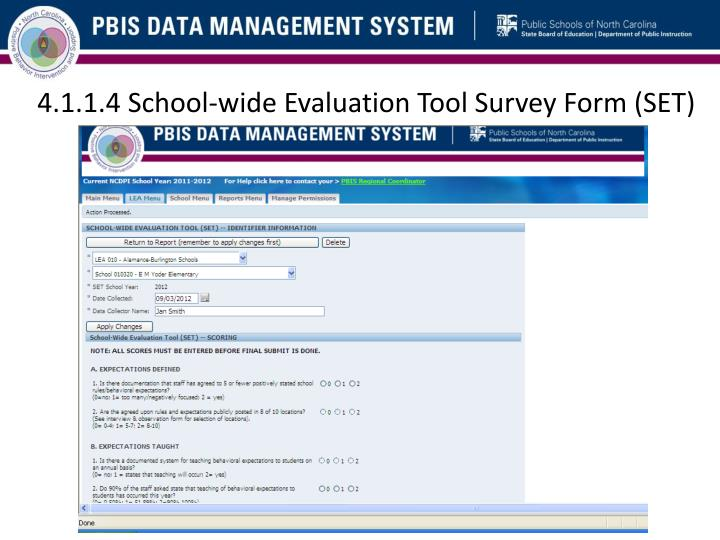 4.1.1.4 School-wide Evaluation Tool Survey Form (SET)