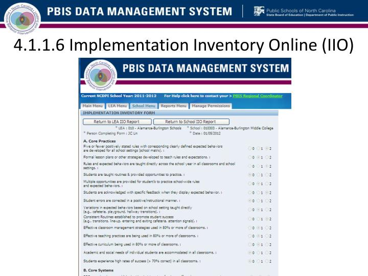 4.1.1.6 Implementation Inventory Online (IIO)