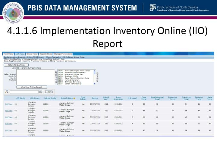 4.1.1.6 Implementation Inventory Online (IIO) Report