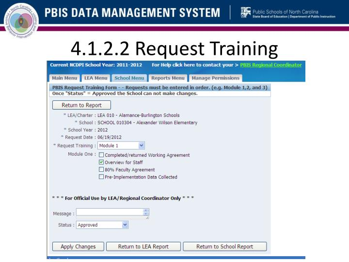 4.1.2.2 Request Training