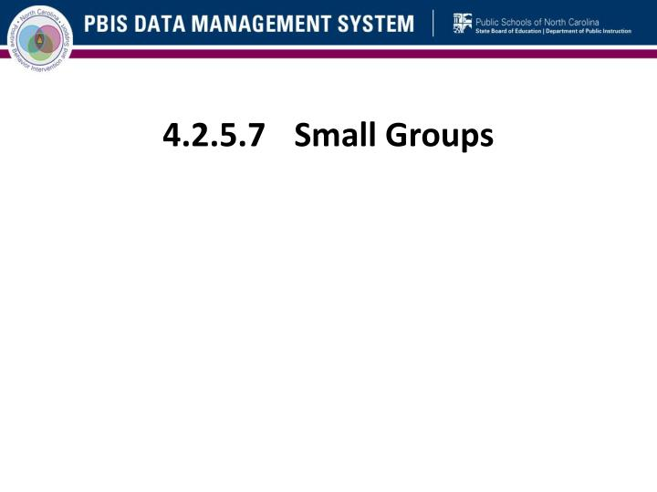 4.2.5.7	Small Groups