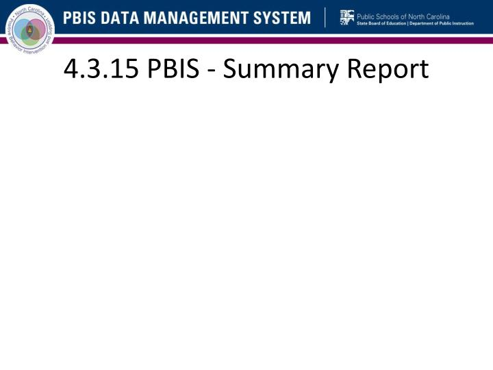 4.3.15 PBIS - Summary Report