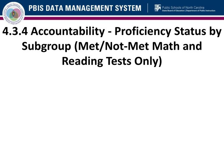 4.3.4 Accountability - Proficiency Status by Subgroup (Met/Not-Met Math and Reading Tests Only)