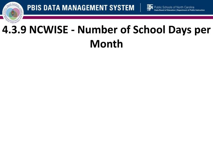 4.3.9 NCWISE - Number of School Days per Month
