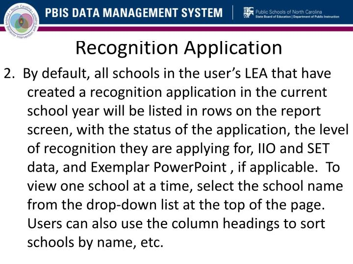 Recognition Application