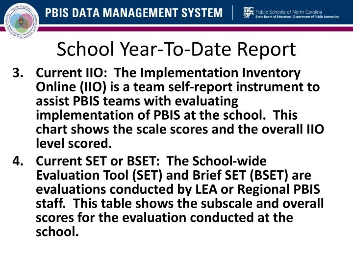 School Year-To-Date Report