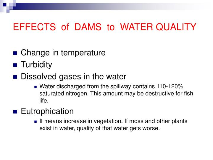 EFFECTS  of  DAMS  to  WATER QUALITY