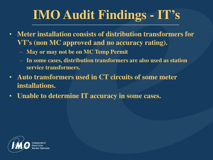 IMO Audit Findings - IT's