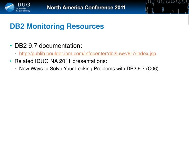 DB2 Monitoring Resources