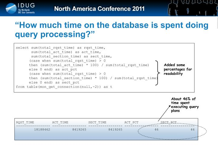 """How much time on the database is spent doing query processing?"""