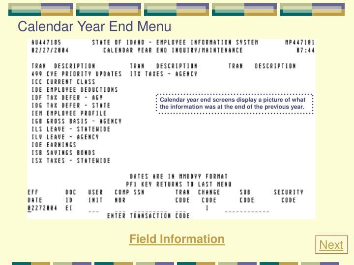 Calendar Year End Menu