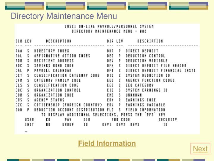 Directory Maintenance Menu