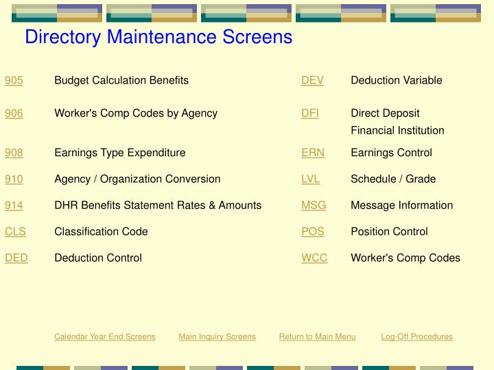 Directory Maintenance Screens