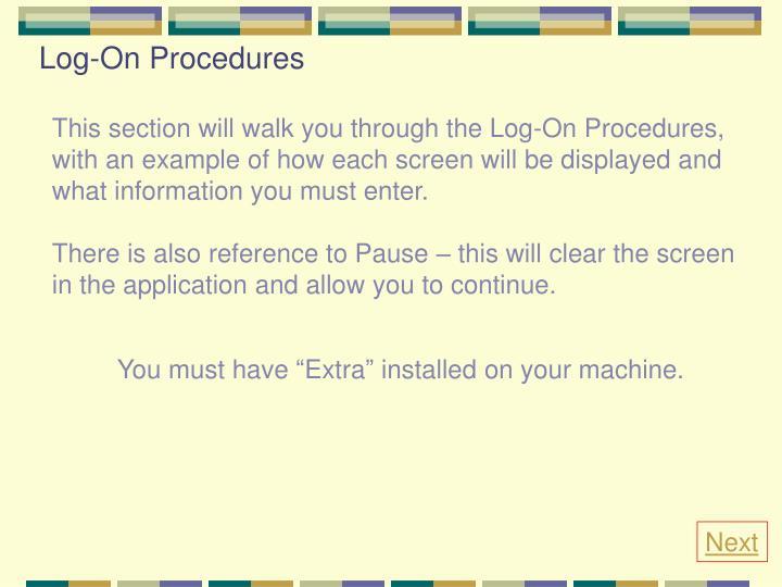 Log-On Procedures