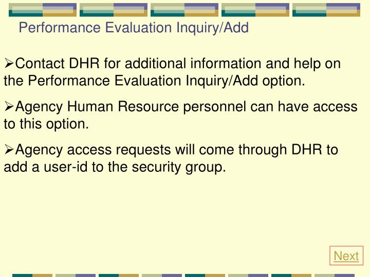 Performance Evaluation Inquiry/Add