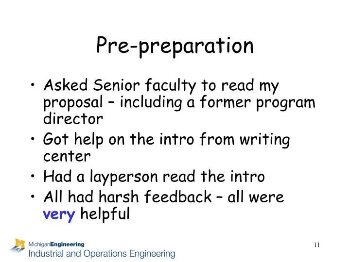 Pre-preparation