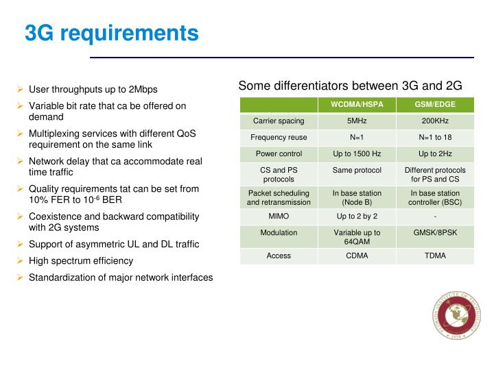 3G requirements